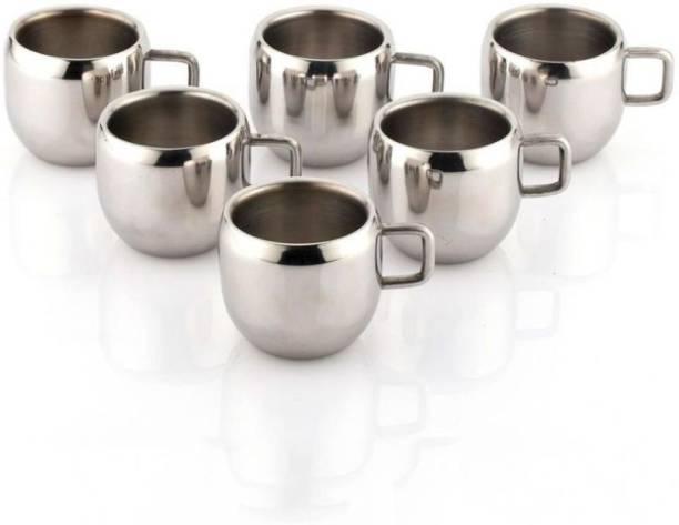 AKG Pack of 6 Stainless Steel Apple Tea & Coffee Cup