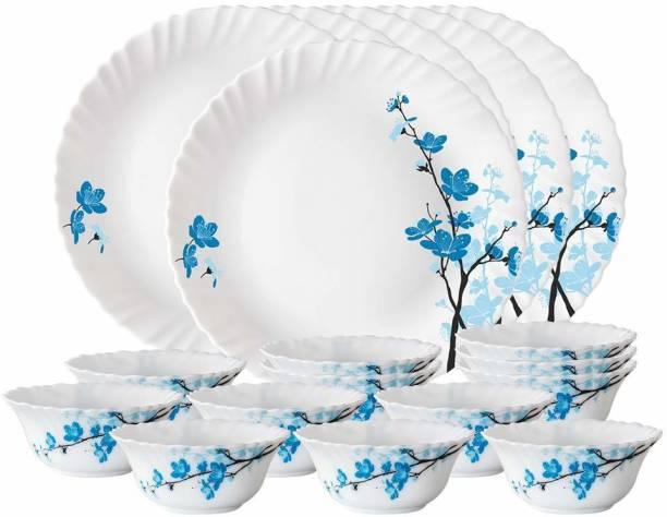 Larah by Borosil Pack of 18 Opalware Thali Set Dinner Set