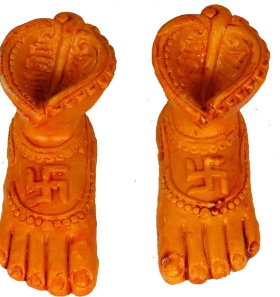 SUNINOW Maa Lakshmi Mitti Charan Terracotta Clay Paduka with Mitti Diya Terracotta (Pack of 2) Hanging Diya Set