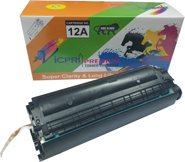 VICPRI 12A ( Q2612A) Toner Cartridge for LaserJet 1010, 1010w, 1012, 1015, 1018, 1020, 1020 Plus, 1022, 1022n, 1022nw, M1005, M1319f, 3015, 3020, 3030, 3050, 3050z, 3052, 3055 Printer (Set of 1 PCs 12A Cartridge) Black Ink Toner