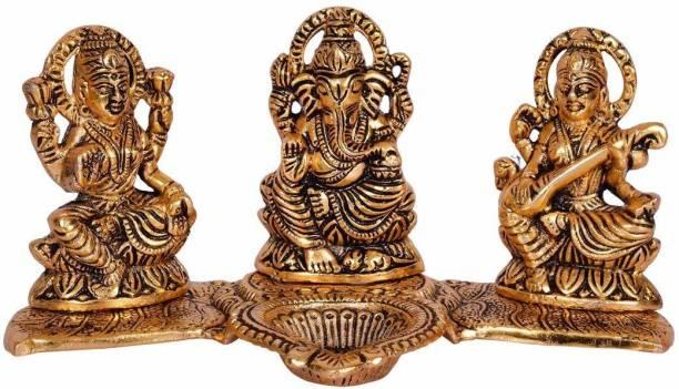 Bansiwal Laxmi Ganesh Saraswati Idol Showpiece Oil Lamp Diya Decorative Showpiece  -  10 cm