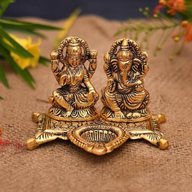 Ein Sof Lakshmi Ganesh Idol for Home/Pooja Room, Gold Plated Metal Ganesh Lakshmi Murti with Diya Stand for Home Decoration or Gift (12 cm x 10 cm x 11 cm) Decorative Showpiece  -  10 cm
