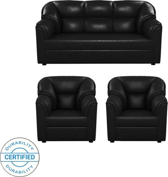 Magnificent Black Leather Sofa Buy Black Leather Sofa Online At Best Machost Co Dining Chair Design Ideas Machostcouk