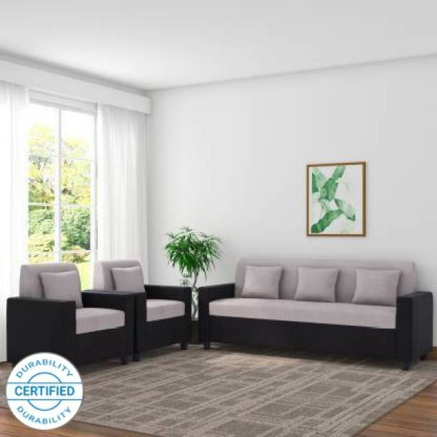 WESTIDO Ikeaa Fabric 3 + 1 + 1 Black Grey Sofa Set