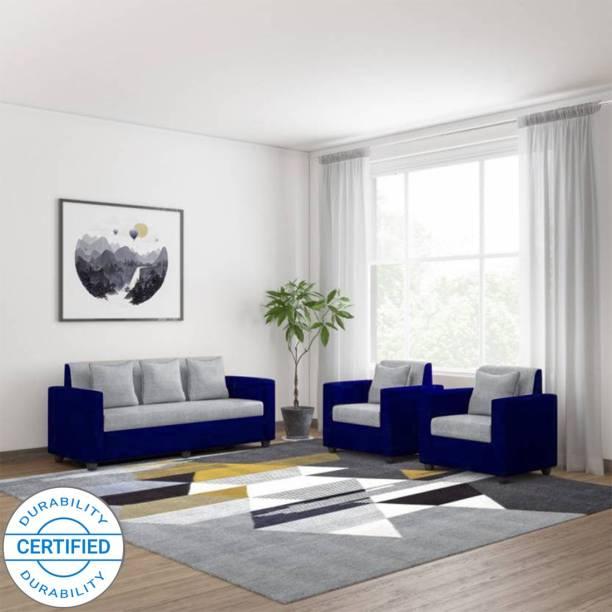 WESTIDO Covi Fabric 3 + 1 + 1 Blue Grey Sofa Set