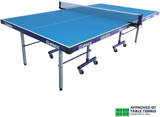 Gymnco Super Fast 75 mm Wheel and Levellers (Top 19 mm Laminated) Stationary Indoor Table Tennis Table