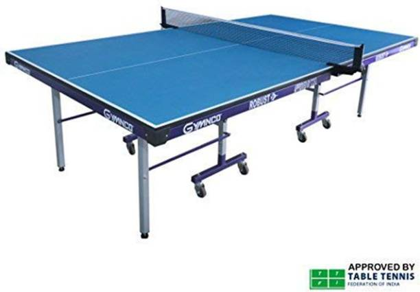 Gymnco Robust Iron With 75 MM Stopper Wheel Stationary Indoor Table Tennis Table