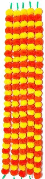 Siddhivinayak Siddhivinayak Artificial Garlands, Phool Mala, Genda Phool, Toran for Home Decoration Pack of 5 (Orange & Yellow) Orange, Yellow Marigold Artificial Flower