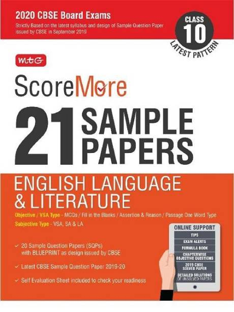 Scoremore 21 Sample Papers Cbse Boards as Per Revised Pattern for 2020 Class 10 English Literature