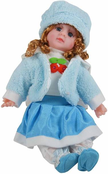TULLY Natural Looking Soft Baby Girl Doll Toy Singing Songs and Poems Wearing Shoes and Cap / Battery Operated / Height 45 cm / Multi Color