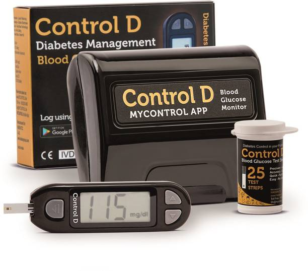 Control D Digital Glucose Blood Sugar testing Monitor Machine with 25 Strips Glucometer