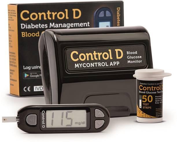 Control D Automatic Glucose Blood Sugar Testing Machine with 50 Strips Glucometer