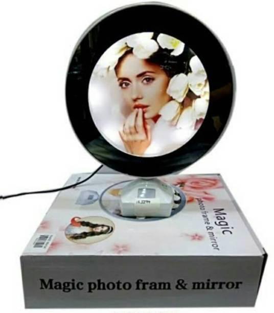 SALEOFF 2-in-1 Plastic Magic Mirror Cum Photo Frame with LED Light 6 inch Mirror Frame