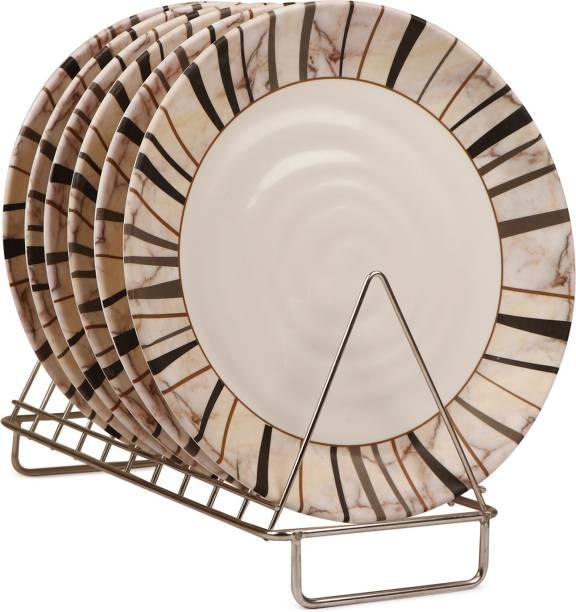 Golden Fish Round Full Dinner Plain Plates (Set of 6 Plates) (Off-White) Dinner Plate