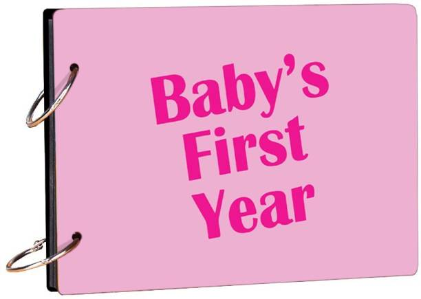 100yellow Baby 's First Year Pink Theme,  Scrapbook Kit