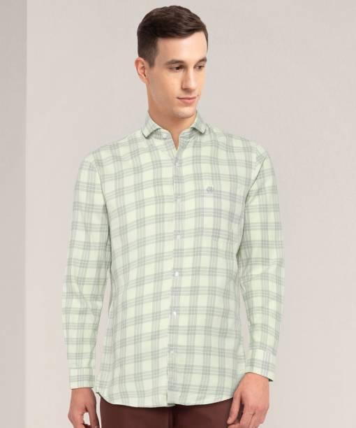 Peter England University Men Checkered Casual Light Green Shirt
