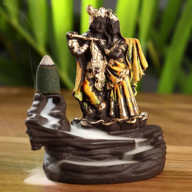 Craft Junction Handcrafted Radha Krishna Backflow Cone Incense Holder Decorative Showpiece  -  11 cm