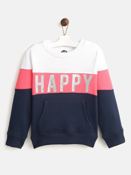 Yk Full Sleeve Color Block Girls Sweatshirt