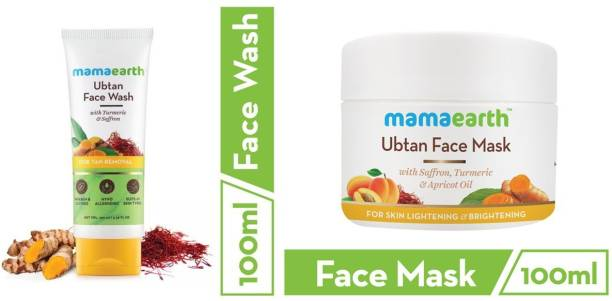 MamaEarth Skin Lightening & Brightening Combo Ubtan Facemask