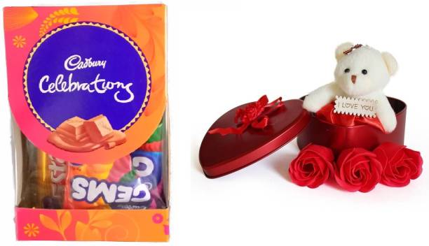 Cadbury Mini Gift Pack Chocolates With Heart-Shaped Teddy & Flowers Box Combo