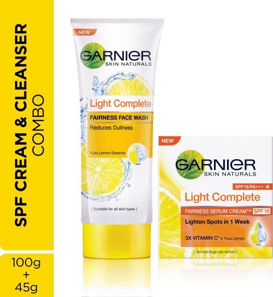 GARNIER Skin Naturals Light Complete Combo - Facewash and Serum Cream SPF 19