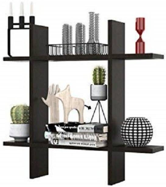 Karam Collections Wall Shelf (Matt Finish, Black) Engineered Wood Display Unit