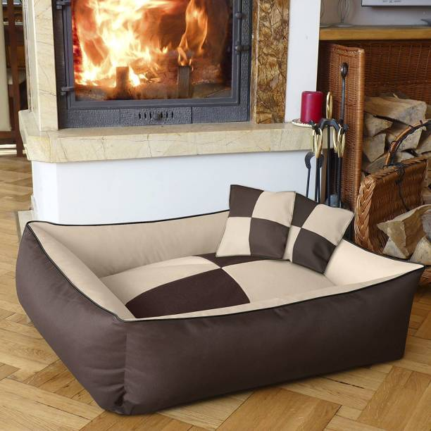 Hiputee Reversible & Rectangular Brown cream Dog/Cat Bed XXL Pet Bed