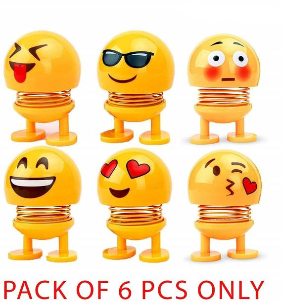 Universal SMILEY / EMOJI SPRING BOBBLE HEAD PACK OF 6 (Yellow)