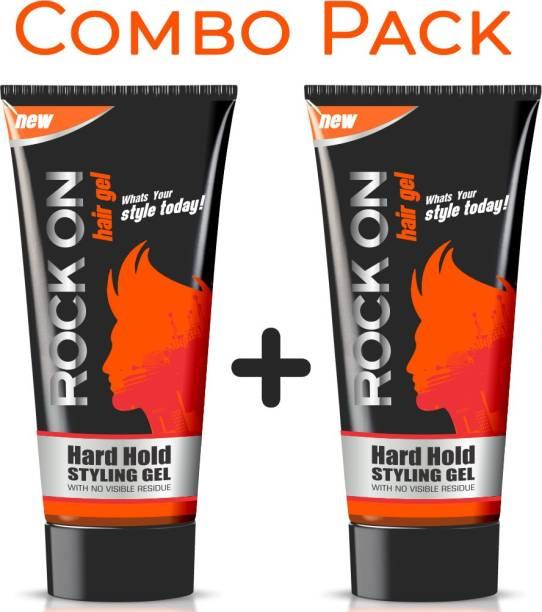 RockOn Hard Hold Gel (60 Gms) Pack of 2 Hair Gel
