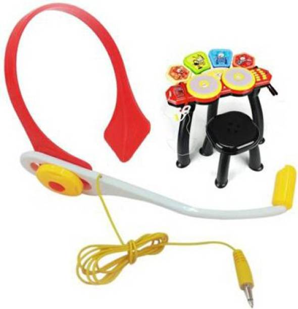 HornFlow Bright star head jazz drum beat set with mp3 plug-In , Microphone , Stool(Multicolor)