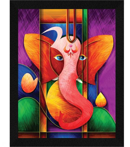 ArtX Ganesh Ji Abstract Framed Painting (Synthetic Wood) Ink 13.5 inch x 10.5 inch Painting