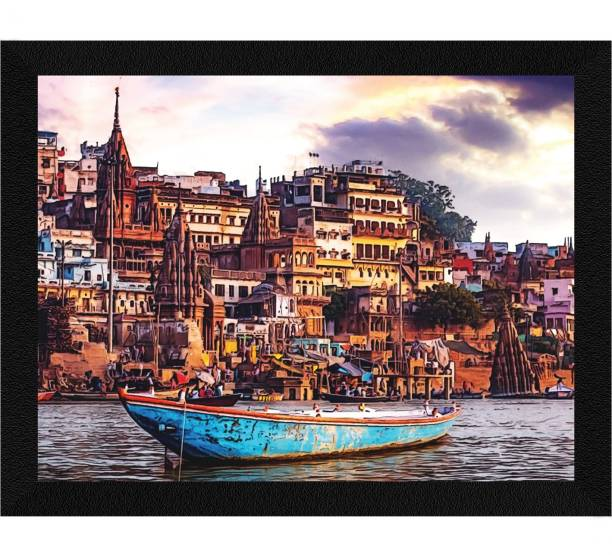 ArtX Varanasi Ghat Framed Painting (Synthetic Wood) Ink 10.5 inch x 13.5 inch Painting
