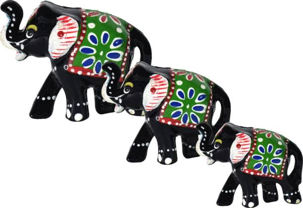 DreamKraft HandCrafted Set of 3 idol Elephant For Decoration And Gift Purpose Decorative Showpiece  -  6 cm