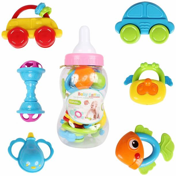 Planet of Toys Best Quality Pieces Newborn Toddler Baby Teether Rattle Play Gift Set for Kids, Children Rattle