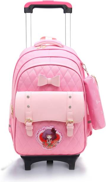 Tinytot SB075B School College Travel Backpack Bag with Trolly for Girls Waterproof Trolley