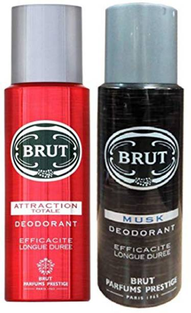 BRUT ATTTRACTION AND MUSK PACK OF 2 Body Spray  -  For Men & Women