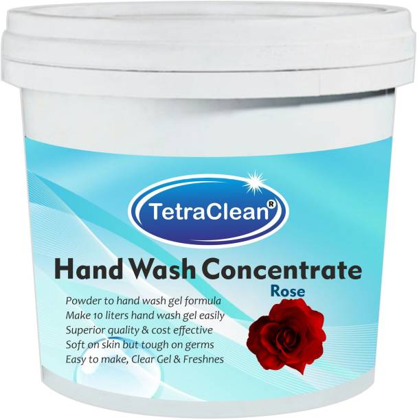 TetraClean Hand Wash Concentrate Powder for Formulation of 10 L Hand Wash Gel in Rose Fragrance (500 gm) Hand Wash Bottle