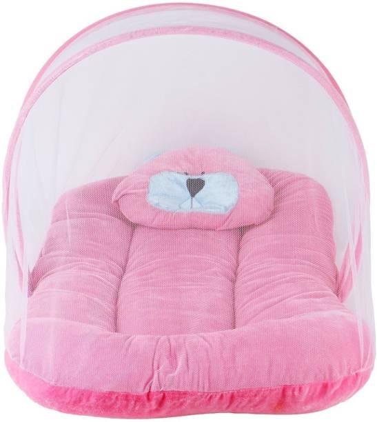 Blue Diamond Nylon Kids Velvet Baby Bedding Set With Fold able Mattress Mosquito Net