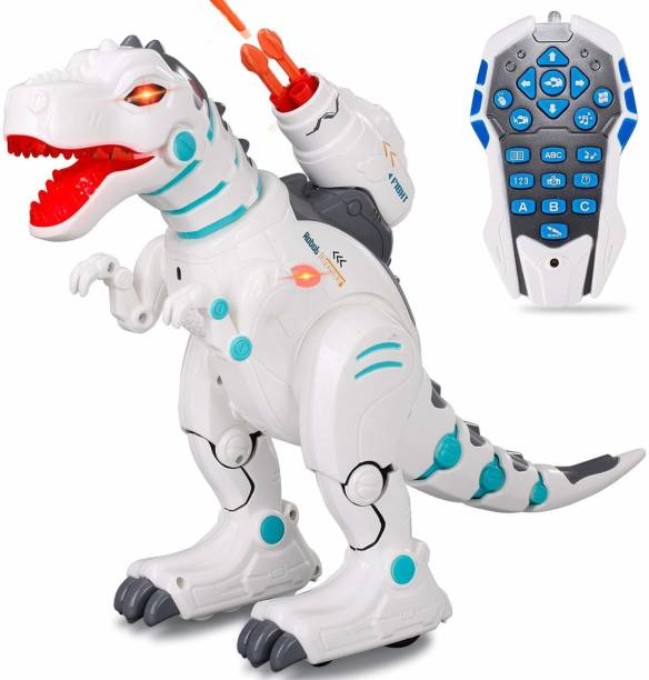 IndusBay Remote Control Robot Dinosaurs T-Rex Interactive RC Programming dinobot Toy Walking, Sings, Dances, Sprays Mist, Launches Missiles Robot for kids