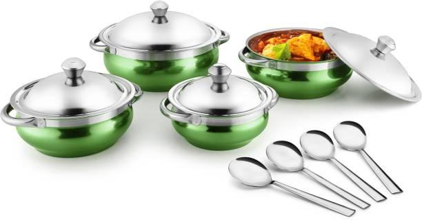 Jensons Green 4 Handi with lid + 4 Serving Spoon Bowl, Spoon Serving Set