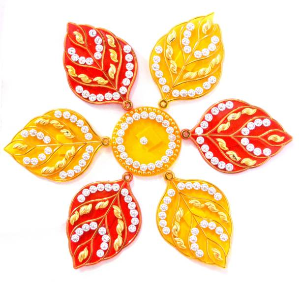 ONRR Collections Medium Acrylic Rangoli Sticker 6x6 Yellow&Red pack of 1