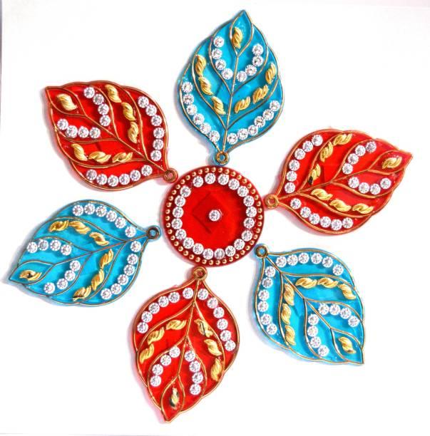 ONRR Collections Medium Acrylic Rangoli Sticker 6x6 light Blue&Red