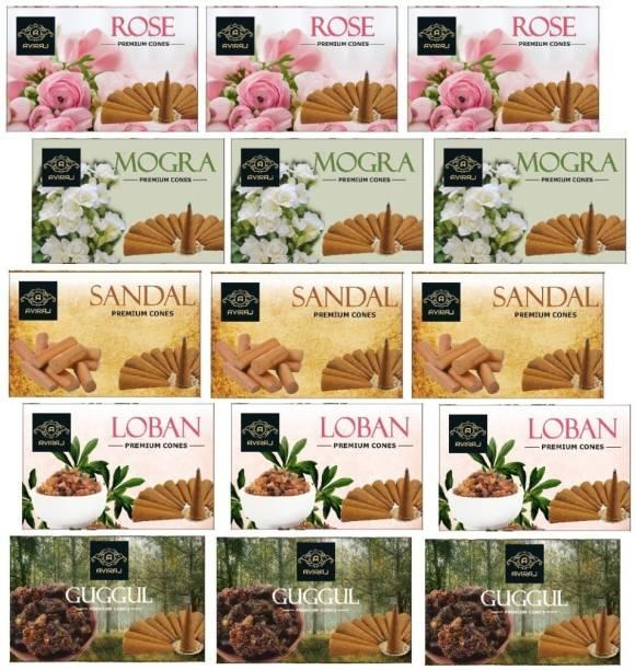 aviraj Premium Multi Fragrance Dhoop Cone Monthly Pack combo of 15 Sandal, Rose, Guggul Dhoop