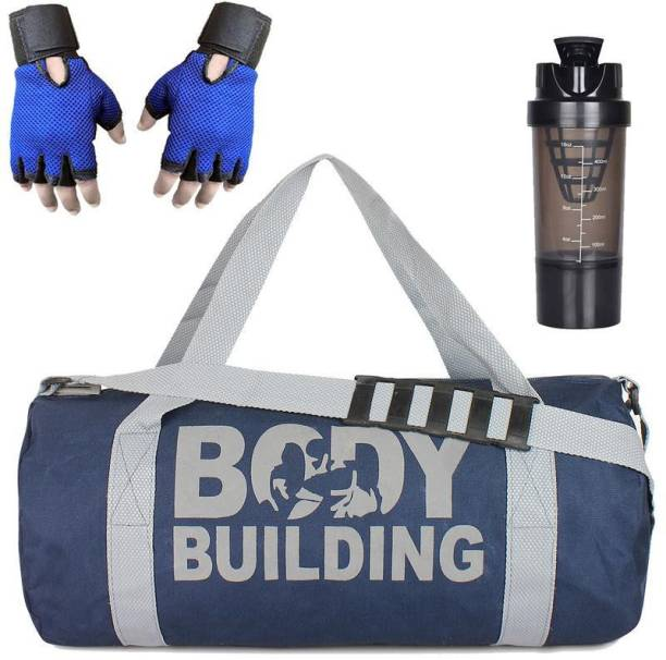 5 O' CLOCK SPORTS Version Sports Combo of Body Building (Blue) Gym Bag Gloves (Blue) and Cyclone Shaker (Black) Gym/Fitness Kit/Combo/Gym Accessories/Gym Kit/for Men and Women Gym & Fitness Kit
