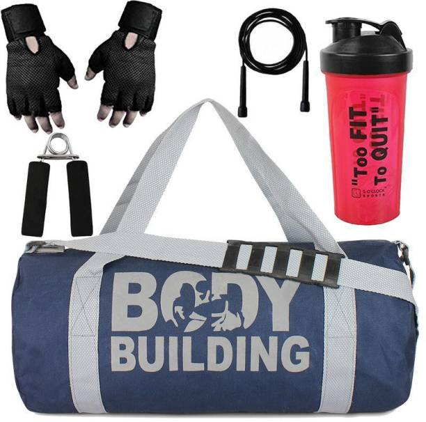 5 O' CLOCK SPORTS Version Sports Combo of Body Building (Blue) Gym Bag Gloves (Black),Hand Gripper Skipping Rope and Classic Shaker (Red ) Gym/Fitness Kit/Combo/Gym Accessories/Gym Kit/for Men and Women Gym & Fitness Kit