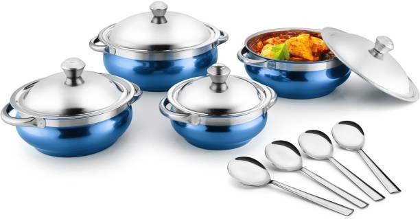 Jensons Blue 4 Handi with lid + 4 Serving Spoon Bowl, Spoon Serving Set