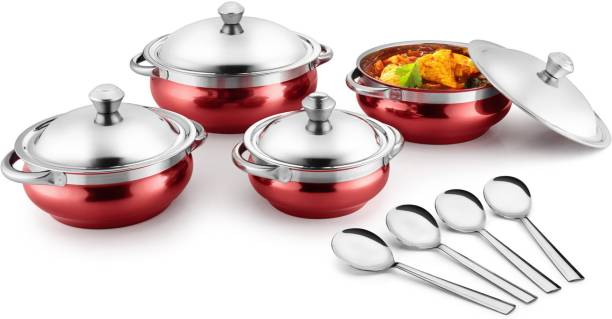 Jensons Red 4 Handi with lid + 4 Serving Spoon Bowl, Spoon Serving Set