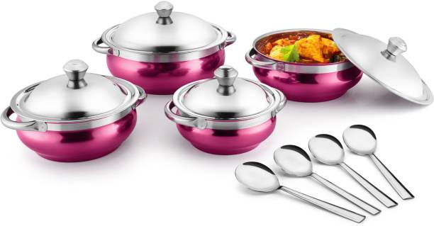 Jensons Pink 4 Handi with lid + 4 Serving Spoon Bowl, Spoon Serving Set