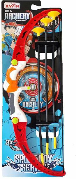 SuperToy Kids Archery Bow and Arrow Toy Set with Target Outdoor Garden Fun Game Archery Kit