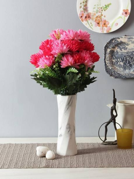 FOURWALLS Artificial Chrysanthemum Flower Sticks (12 Head, 40 cm Tall, dark/Pink) Multicolor Cosmos Artificial Flower